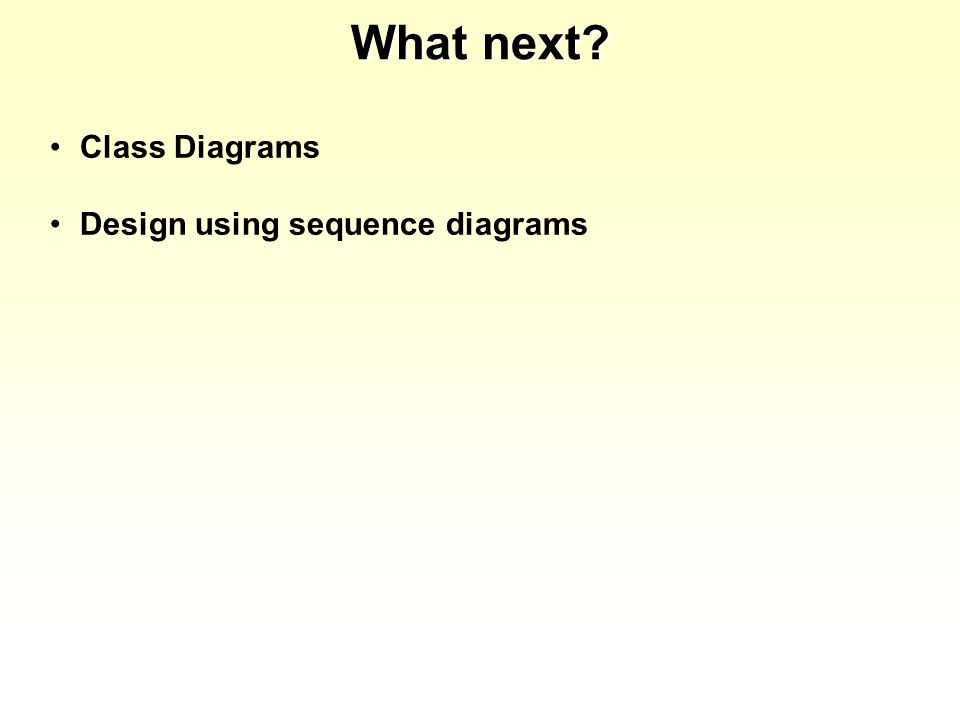 What next Class Diagrams Design using sequence diagrams
