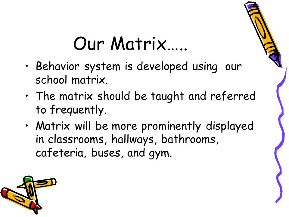 Our Matrix….. Behavior system is developed using our school matrix.