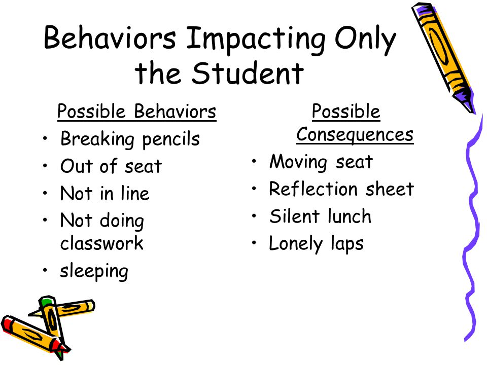 Behaviors Impacting Only the Student Possible Behaviors Breaking pencils Out of seat Not in line Not doing classwork sleeping Possible Consequences Moving seat Reflection sheet Silent lunch Lonely laps