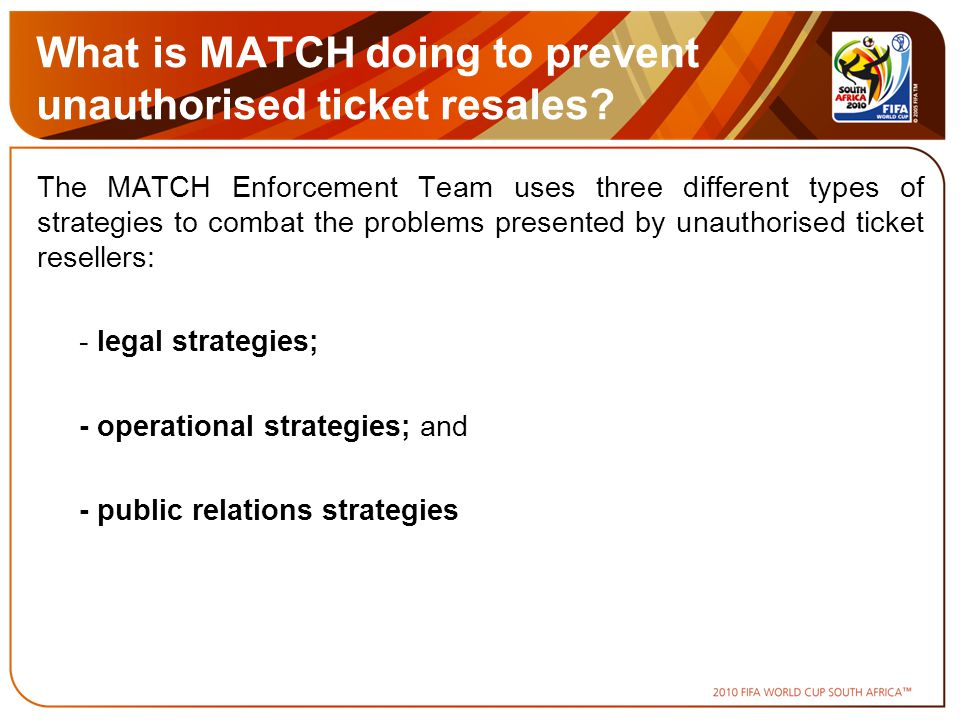 What is MATCH doing to prevent unauthorised ticket resales.