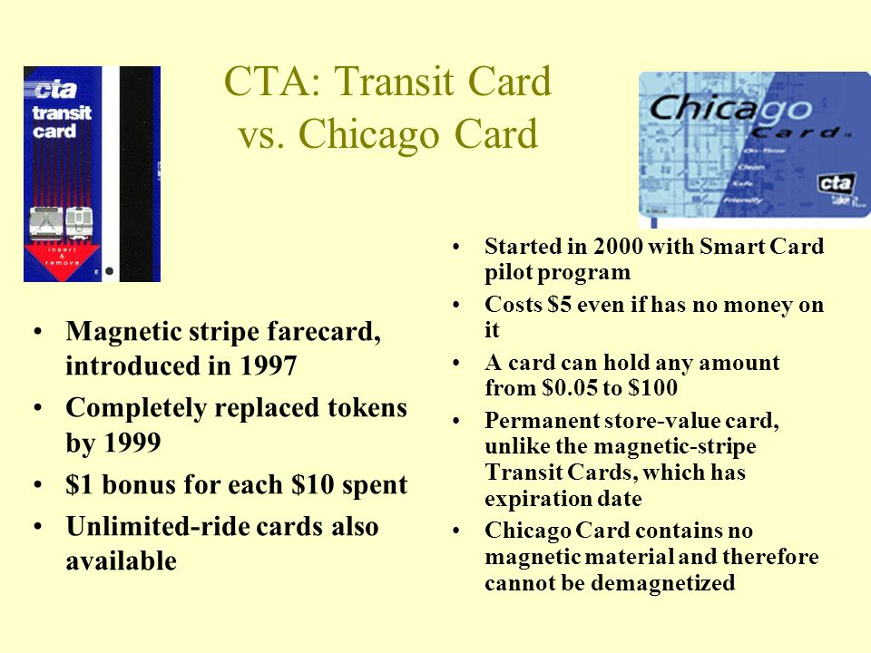 CTA: Transit Card vs. Chicago Card Magnetic stripe farecard, introduced in 1997 Completely replaced tokens by 1999 $1 bonus for each $10 spent Unlimit