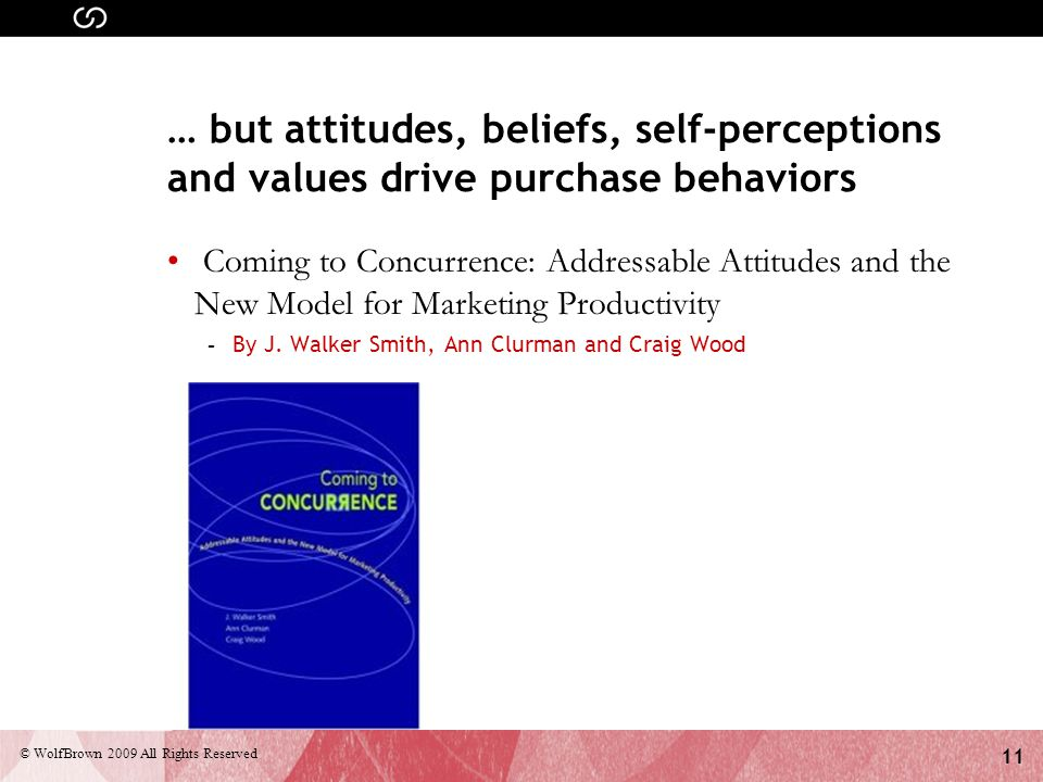 11 © WolfBrown 2009 All Rights Reserved … but attitudes, beliefs, self-perceptions and values drive purchase behaviors Coming to Concurrence: Addressable Attitudes and the New Model for Marketing Productivity - By J.