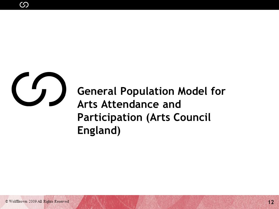 12 © WolfBrown 2009 All Rights Reserved General Population Model for Arts Attendance and Participation (Arts Council England)
