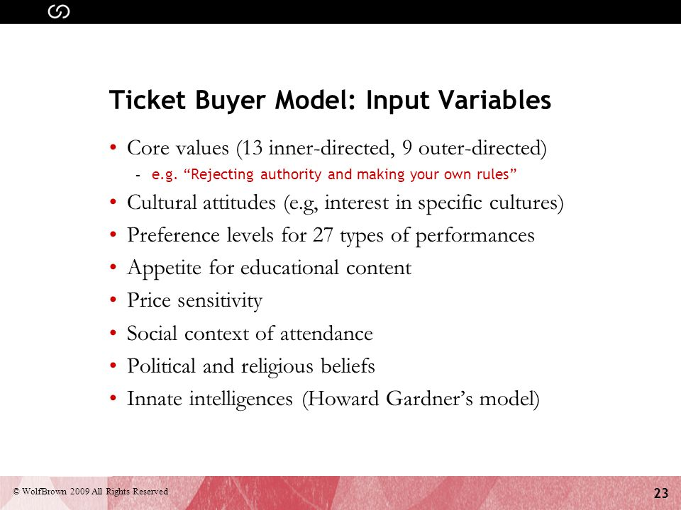 23 © WolfBrown 2009 All Rights Reserved Ticket Buyer Model: Input Variables Core values (13 inner-directed, 9 outer-directed) - e.g.