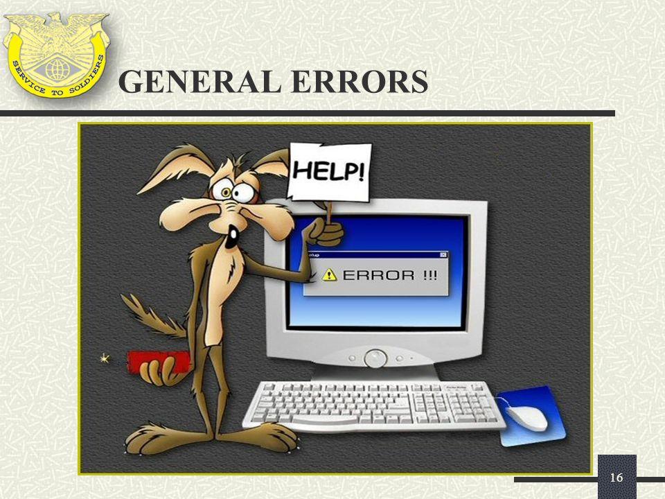 GENERAL ERRORS 16