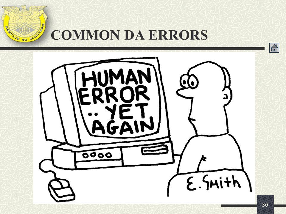 30 COMMON DA ERRORS