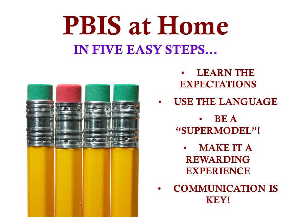 PBIS at Home IN FIVE EASY STEPS… LEARN THE EXPECTATIONS USE THE LANGUAGE BE A SUPERMODEL.