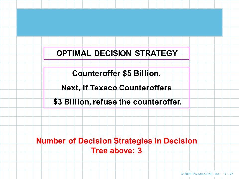 © 2009 Prentice-Hall, Inc. 3 – 25 OPTIMAL DECISION STRATEGY Counteroffer $5 Billion.