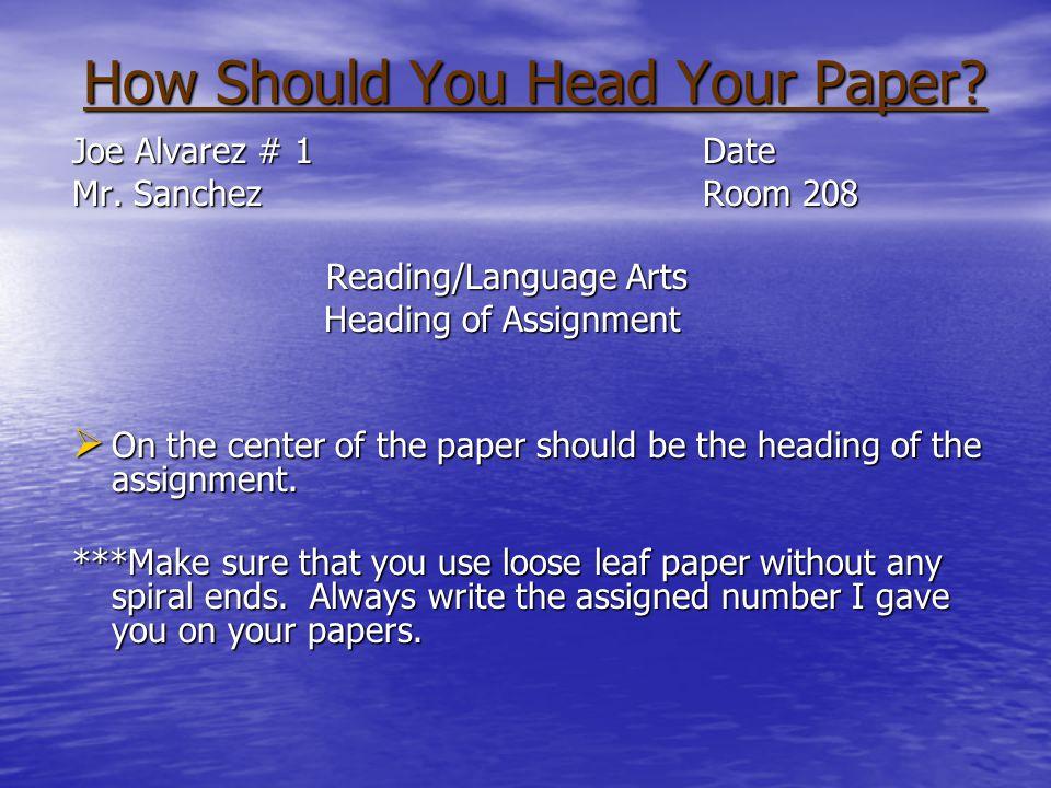 Discussion Topics Paper Heading Paper Heading Turning in Paper Turning in Paper Classroom Materials Classroom Materials