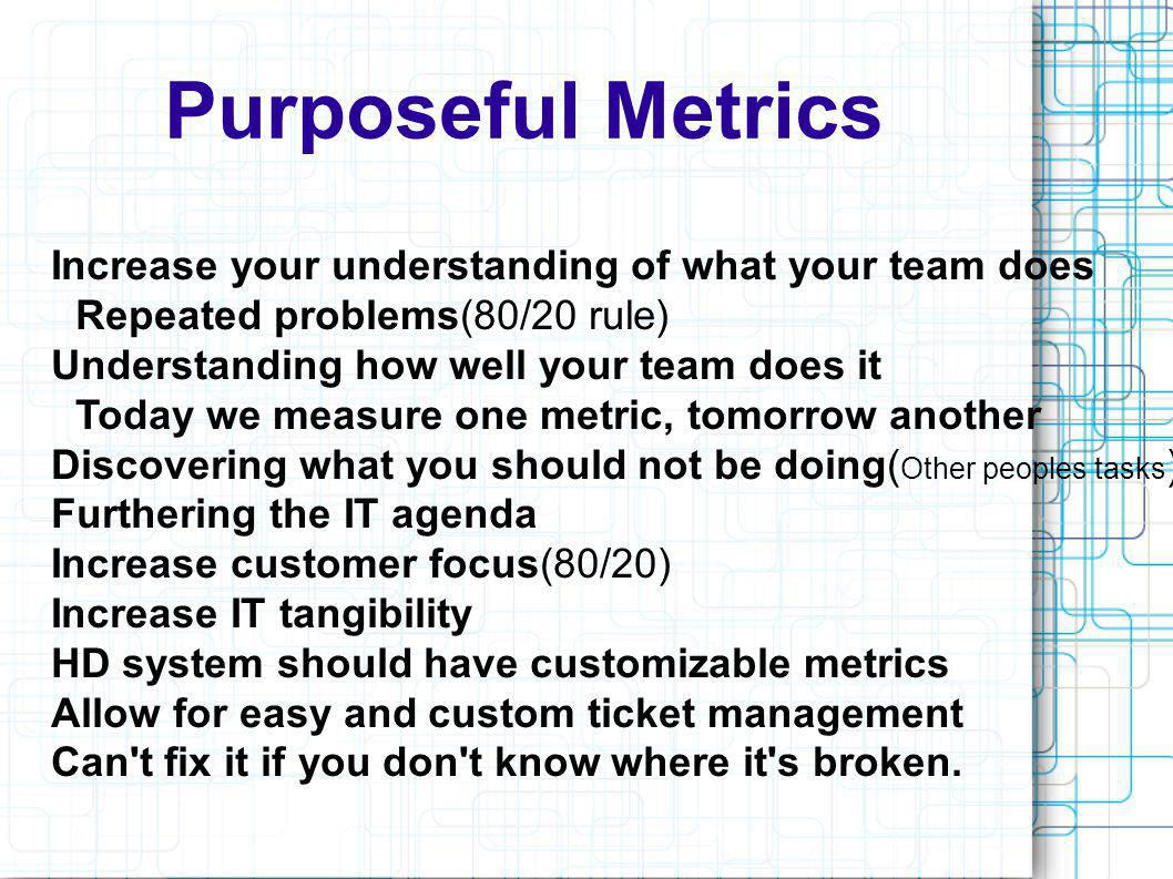 The Not So Evil Metrics Bad use of metrics Firing personnel Good uses of metrics Redefining tasks How 80-20 affects the department Furthers IT agenda Today we measure one metric, tomorrow another