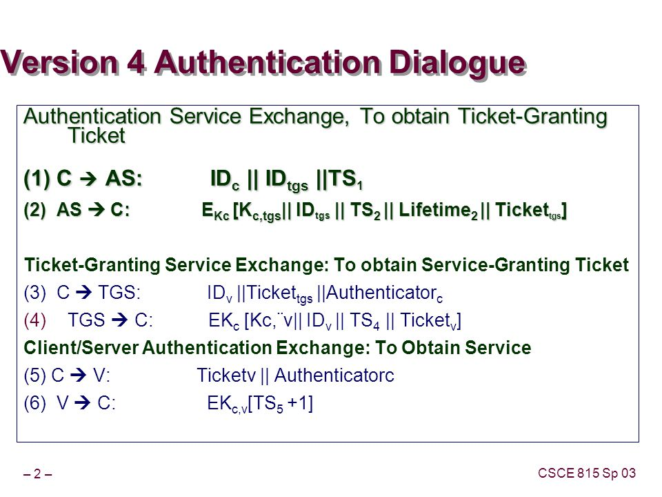 – 2 – CSCE 815 Sp 03 Version 4 Authentication Dialogue Authentication Service Exchange, To obtain Ticket-Granting Ticket (1) C AS: ID c || ID tgs ||TS 1 (2) AS C: E Kc [K c,tgs || ID tgs || TS 2 || Lifetime 2 || Ticket tgs ] Ticket-Granting Service Exchange: To obtain Service-Granting Ticket (3) C TGS: ID v ||Ticket tgs ||Authenticator c TGS C: EK c [Kc,¨v|| ID v || TS 4 || Ticket v ] Client/Server Authentication Exchange: To Obtain Service (5) C V: Ticketv || Authenticatorc (6) V C: EK c,v [TS 5 +1]