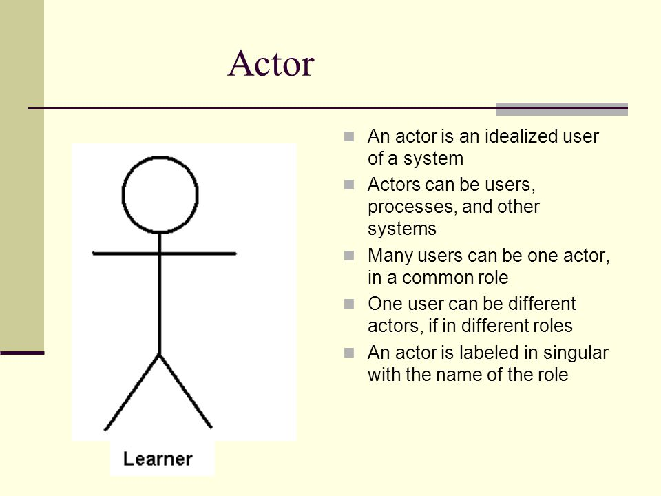 Actor An actor is an idealized user of a system Actors can be users, processes, and other systems Many users can be one actor, in a common role One user can be different actors, if in different roles An actor is labeled in singular with the name of the role