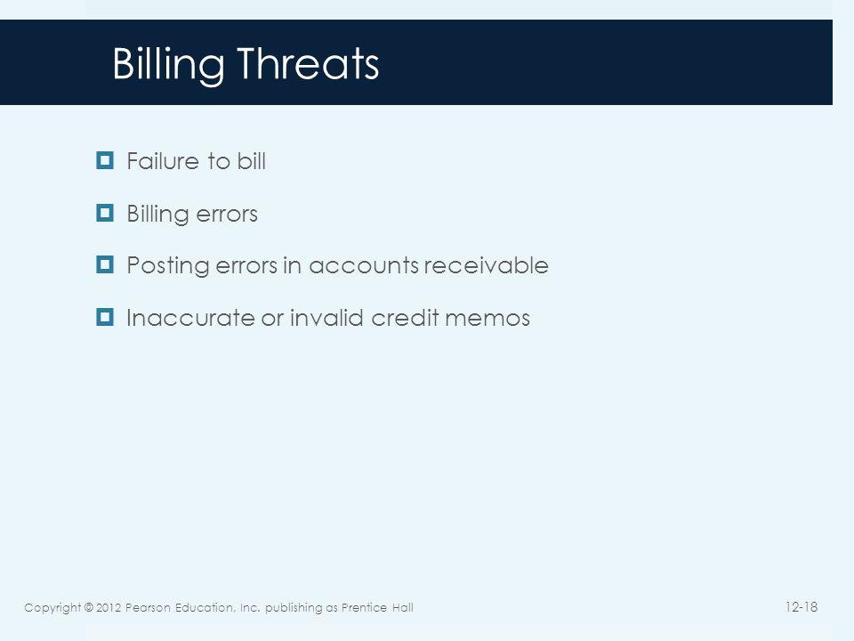 Billing Threats Failure to bill Billing errors Posting errors in accounts receivable Inaccurate or invalid credit memos Copyright © 2012 Pearson Educa