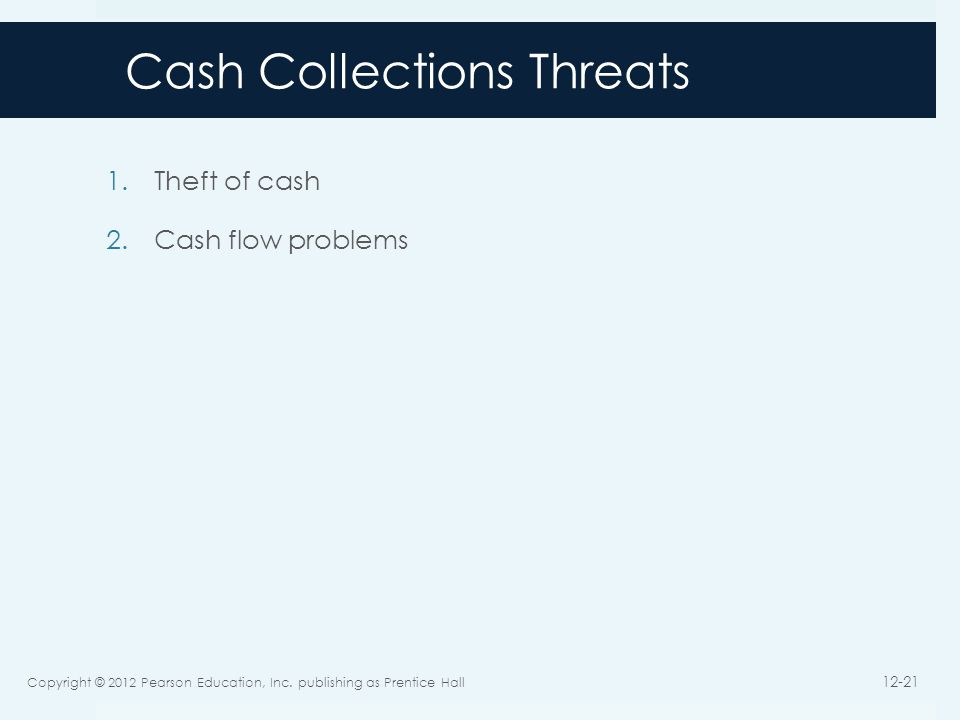 Cash Collections Threats 1.Theft of cash 2.Cash flow problems Copyright © 2012 Pearson Education, Inc. publishing as Prentice Hall 12-21