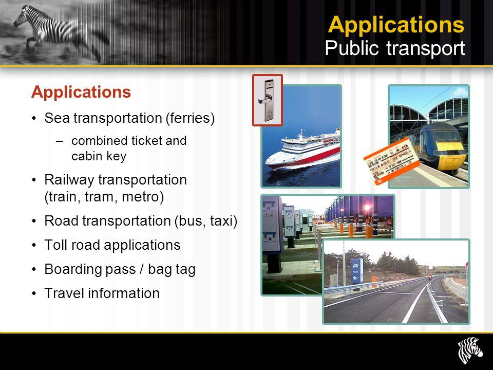 Applications Public transport Applications Sea transportation (ferries) –combined ticket and cabin key Railway transportation (train, tram, metro) Roa