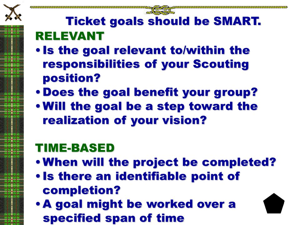 RELEVANT Is the goal relevant to/within the responsibilities of your Scouting position?Is the goal relevant to/within the responsibilities of your Sco