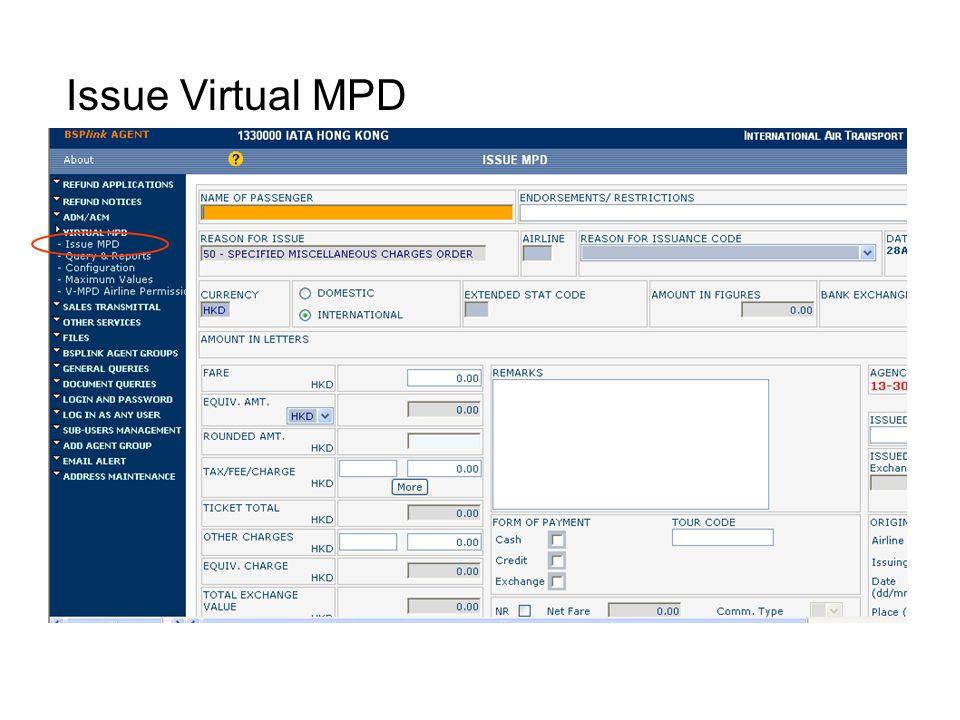 Issue Virtual MPD