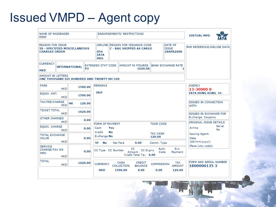 Issued VMPD – Agent copy