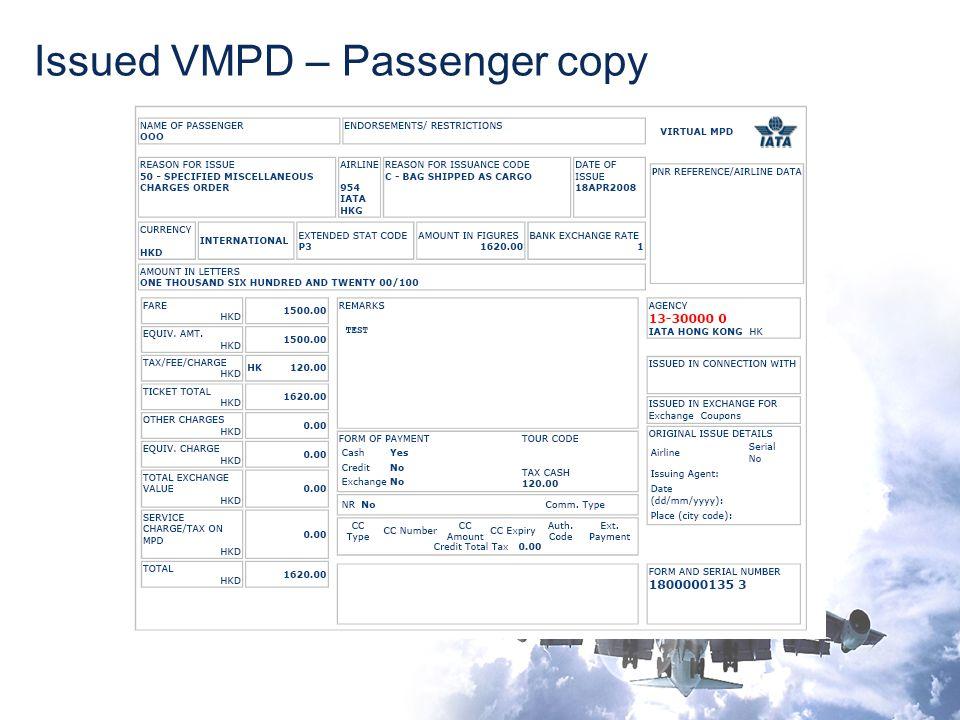 Issued VMPD – Passenger copy
