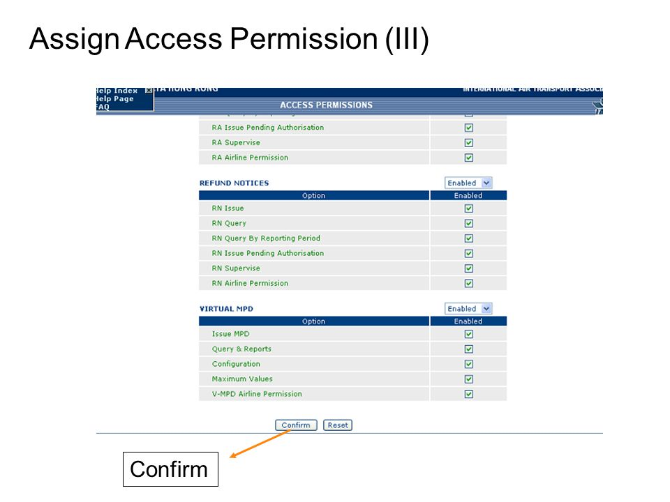 Assign Access Permission (III) Confirm