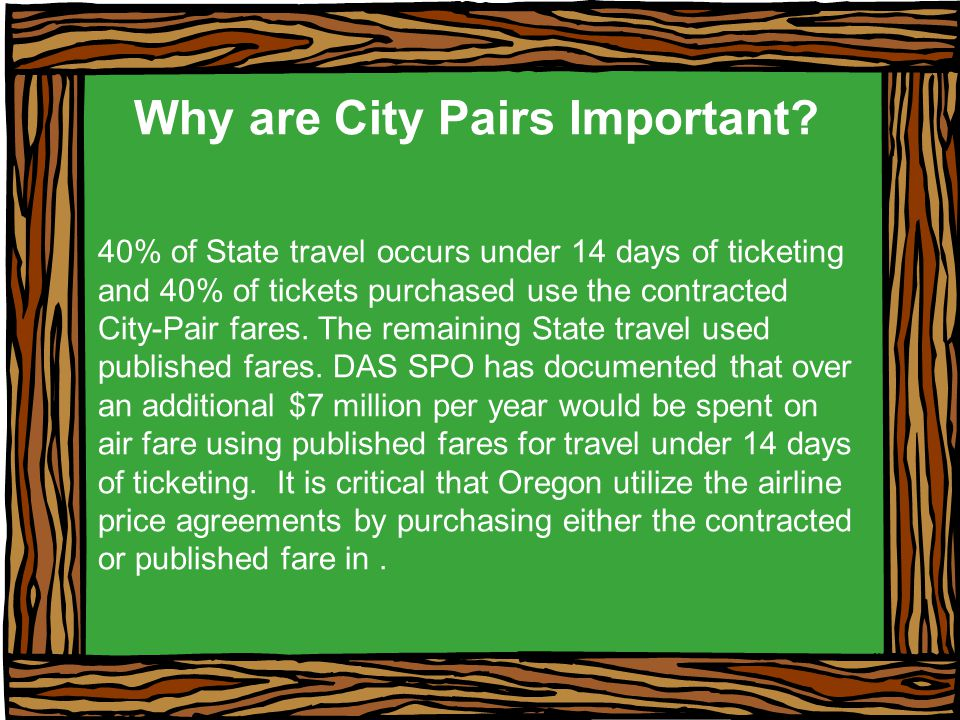 Why are City Pairs Important.