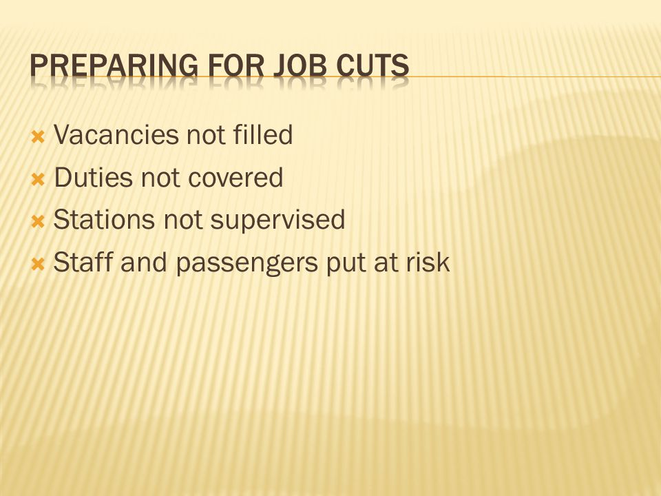 Vacancies not filled Duties not covered Stations not supervised Staff and passengers put at risk