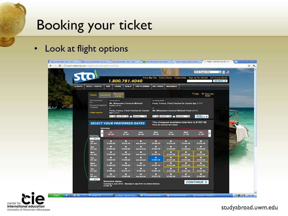 Booking your ticket studyabroad.uwm.edu Look at flight options