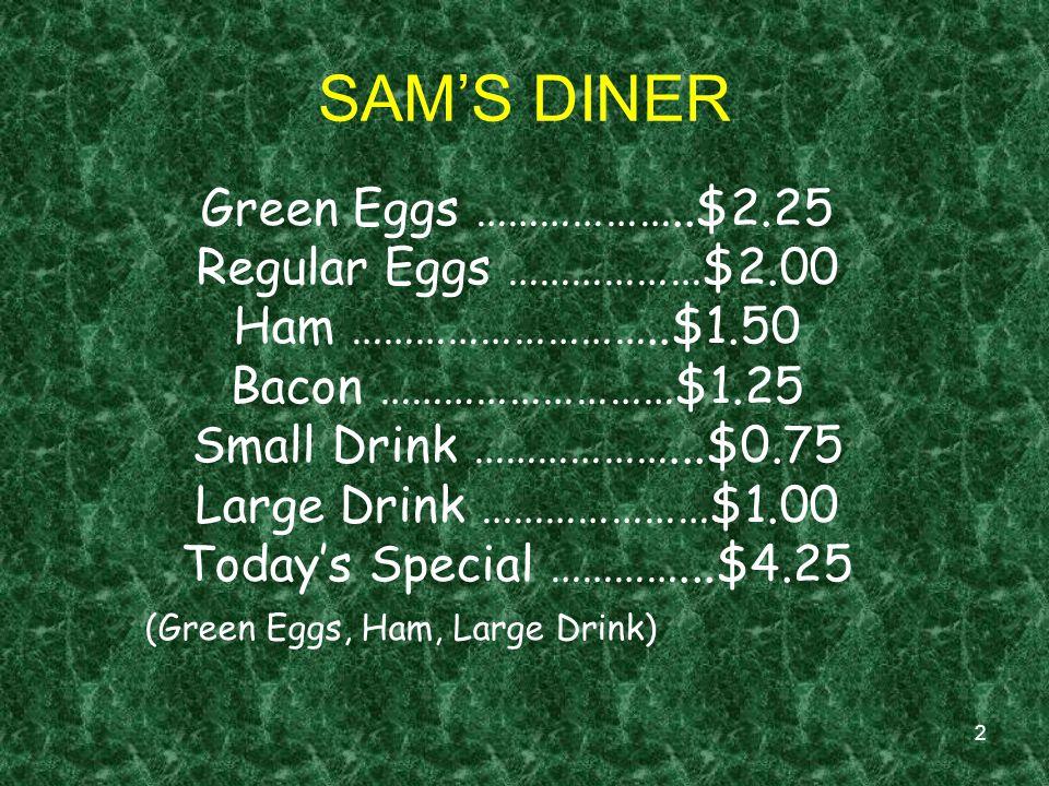 2 SAMS DINER Green Eggs ………………..$2.25 Regular Eggs ………………$2.00 Ham ………………………..$1.50 Bacon ………………………$1.25 Small Drink ………………...$0.75 Large Drink …………………$1.00 Todays Special …………...$4.25 (Green Eggs, Ham, Large Drink)