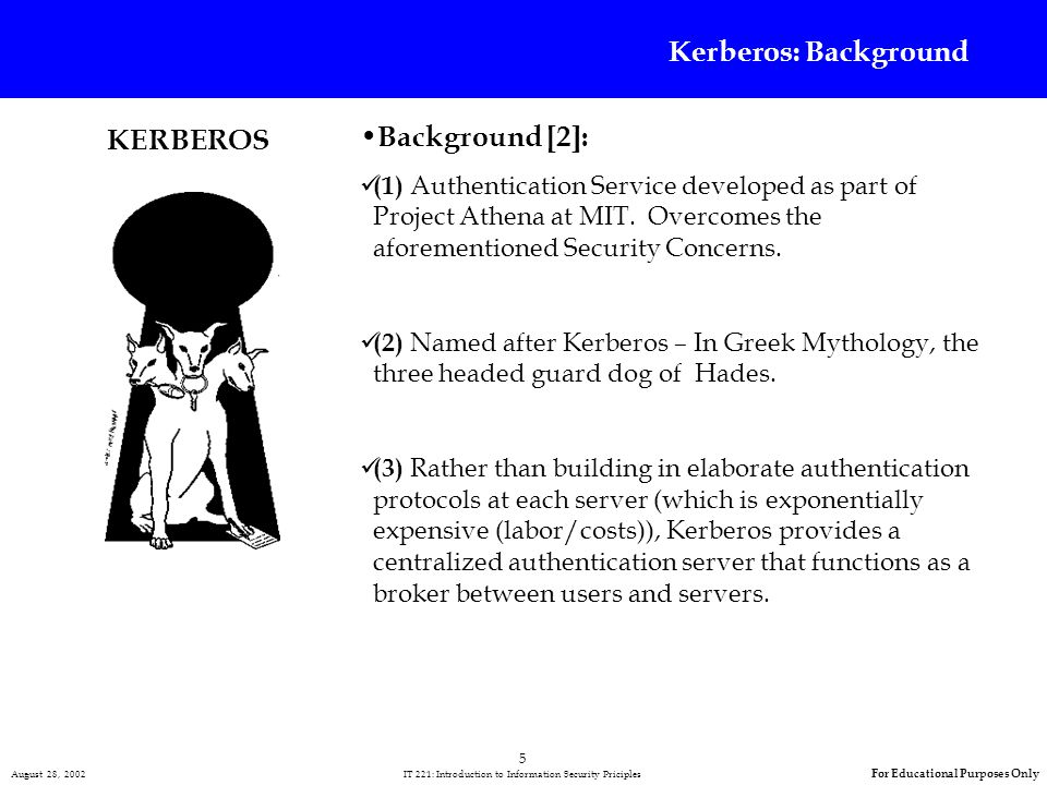 5 August 28, 2002 IT 221: Introduction to Information Security Priciples For Educational Purposes Only Kerberos: Background Background [2]: (1) Authentication Service developed as part of Project Athena at MIT.