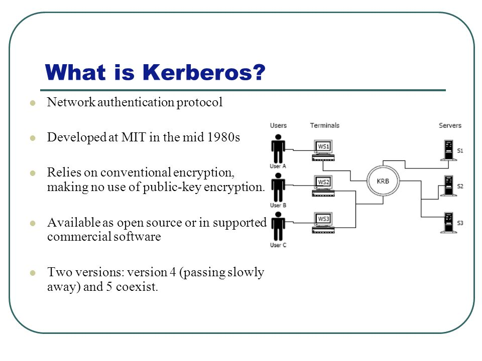 What is Kerberos? Network authentication protocol Developed at MIT in the mid 1980s Relies on conventional encryption, making no use of public-key enc