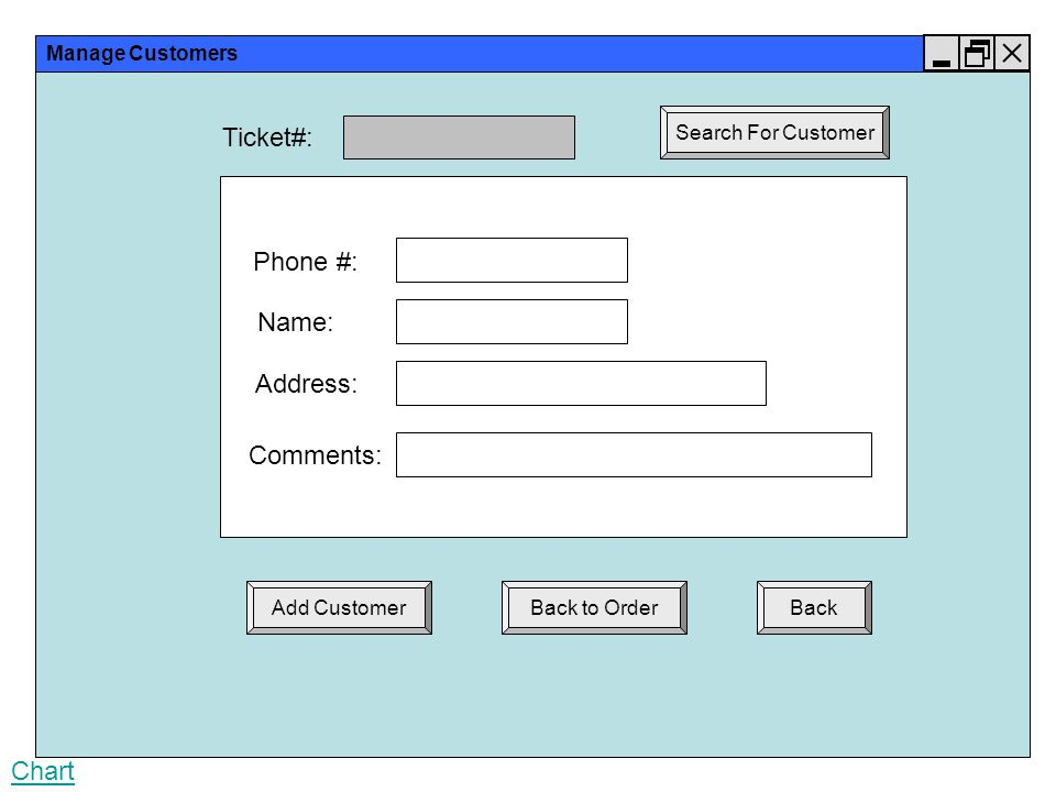 Manage Customers Back Phone #: Name: Ticket#: Search For Customer Chart Address: Comments: Add CustomerBack to Order