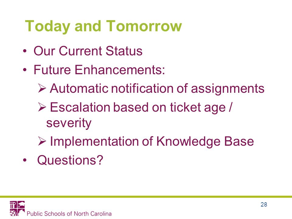 28 Today and Tomorrow Our Current Status Future Enhancements: Automatic notification of assignments Escalation based on ticket age / severity Implementation of Knowledge Base Questions