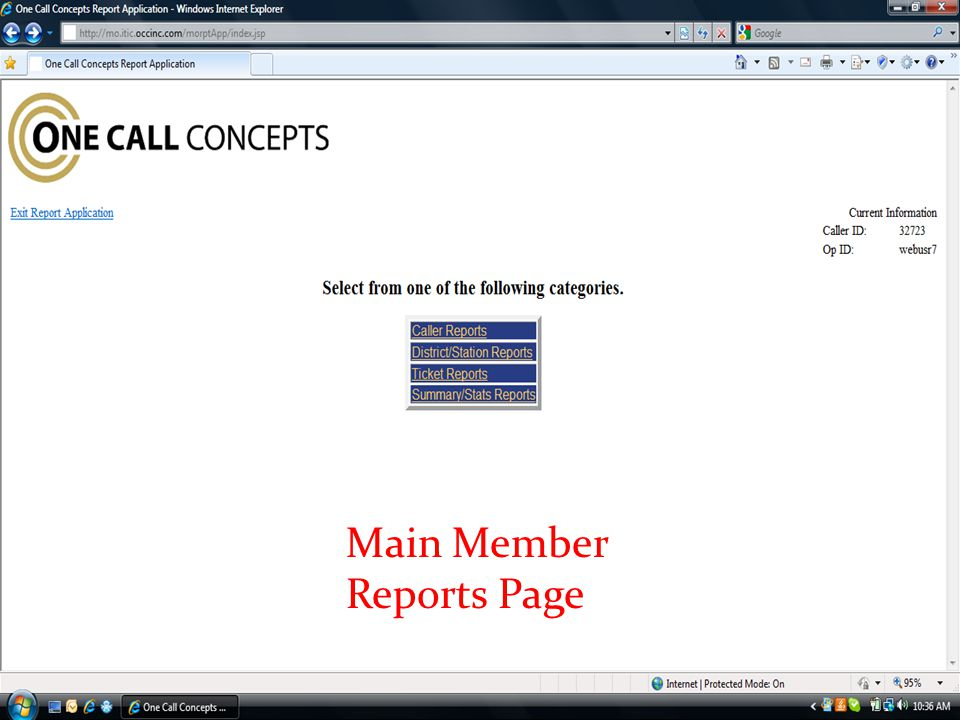 Main Member Reports Page