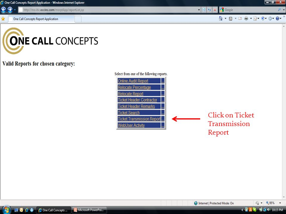 Click on Ticket Transmission Report