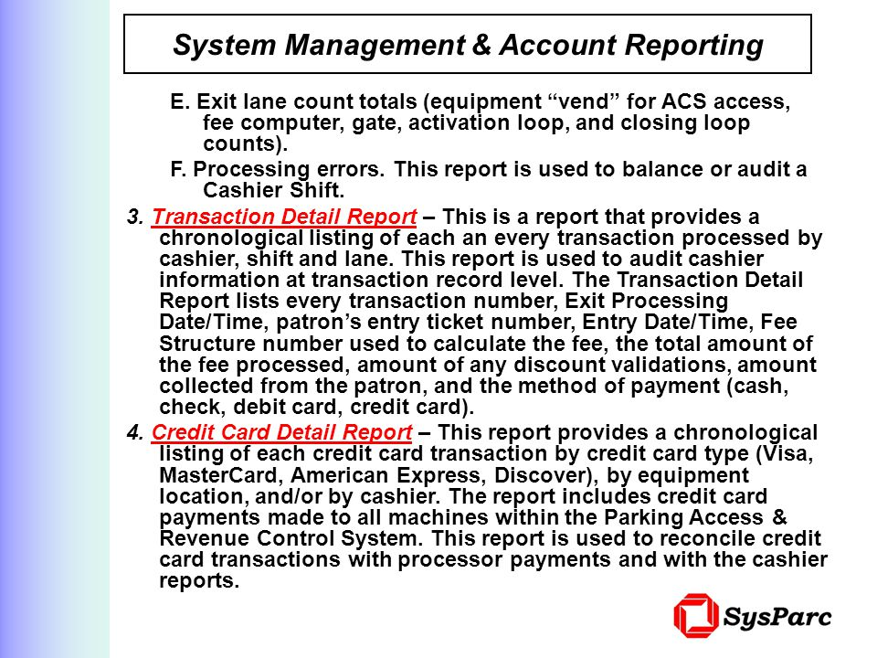 System Management & Account Reporting E.