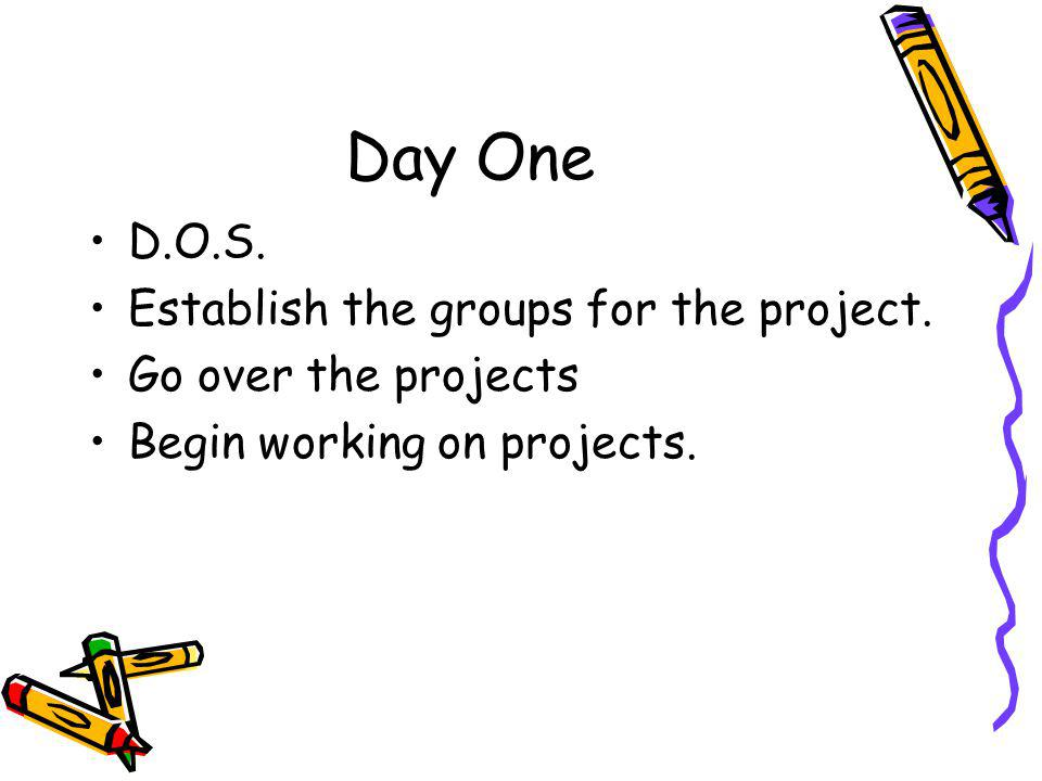 Day One D.O.S. Establish the groups for the project.
