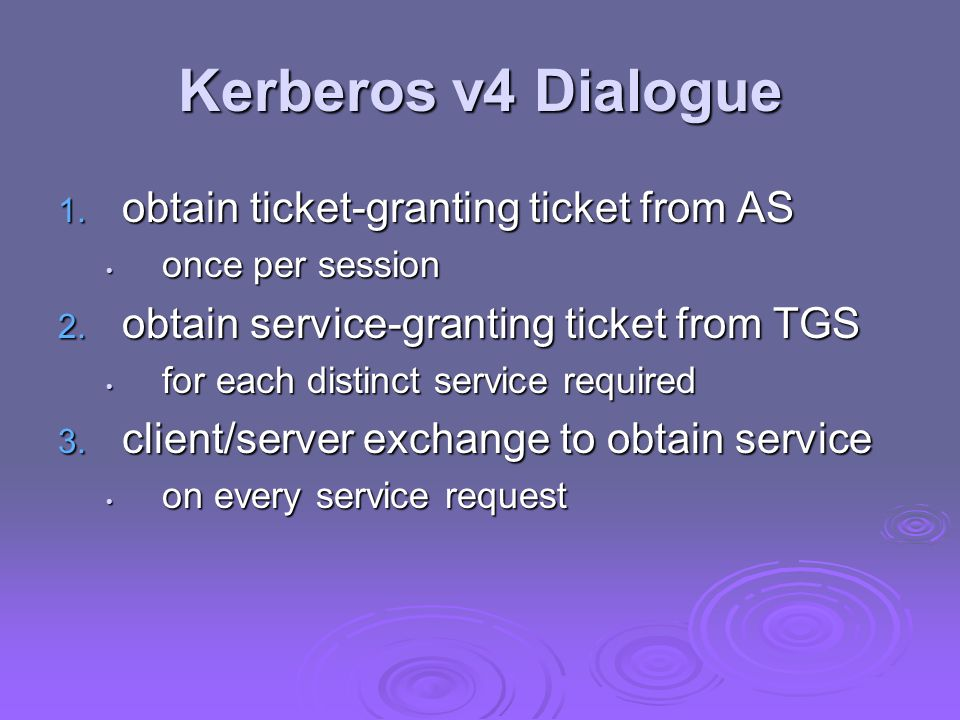 Kerberos v4 Dialogue 1. obtain ticket-granting ticket from AS once per session once per session 2.