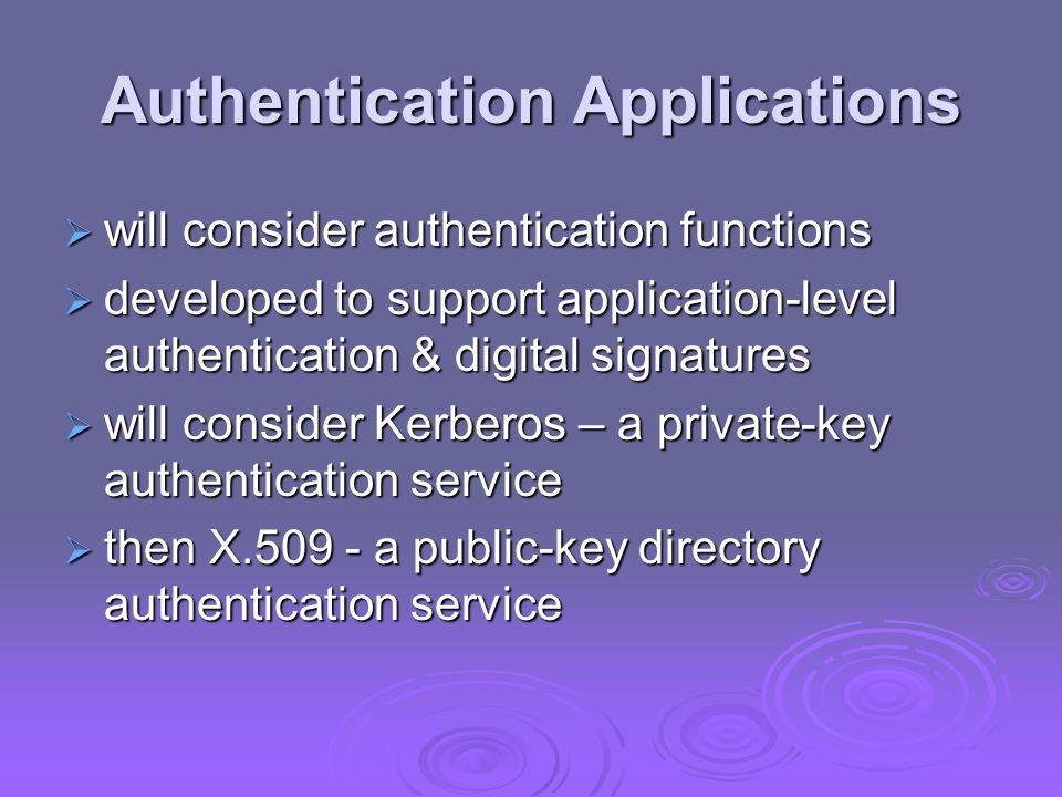 Authentication Procedures X.509 includes three alternative authentication procedures: X.509 includes three alternative authentication procedures: One-Way Authentication One-Way Authentication Two-Way Authentication Two-Way Authentication Three-Way Authentication Three-Way Authentication all use public-key signatures all use public-key signatures