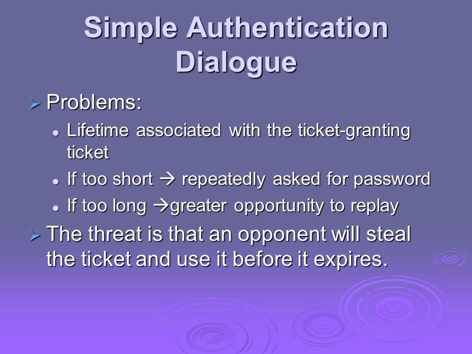 Version 4 Authentication Dialogue Ticket-Granting Service Exchange: To obtain Service-Granting Ticket (3) C TGS: IDv ||Ticket tgs ||Authenticator c (4) TGS C: E Kc,tgs [K c,¨v || IDv || TS 4 || Ticket v ] Client/Server Authentication Exhange: To Obtain Service (5) C V: Ticket v || Authenticator c (6) V C: EKc,v[TS 5 +1] // mutual authentication Authentication Service Exchange: To obtain Ticket-Granting Ticket (1) C AS: IDc || ID tgs ||TS 1 (2) AS C: E Kc [K c,tgs || ID tgs || TS 2 || Lifetime 2 || Ticket tgs ]