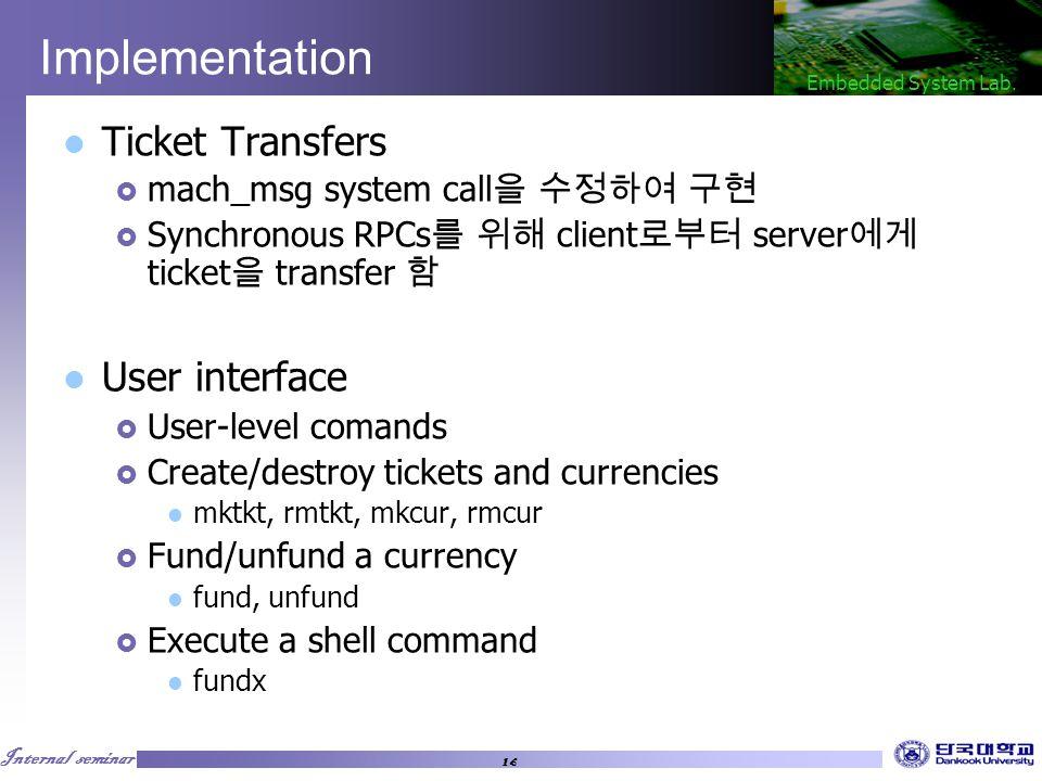 Internal seminar Embedded System Lab.