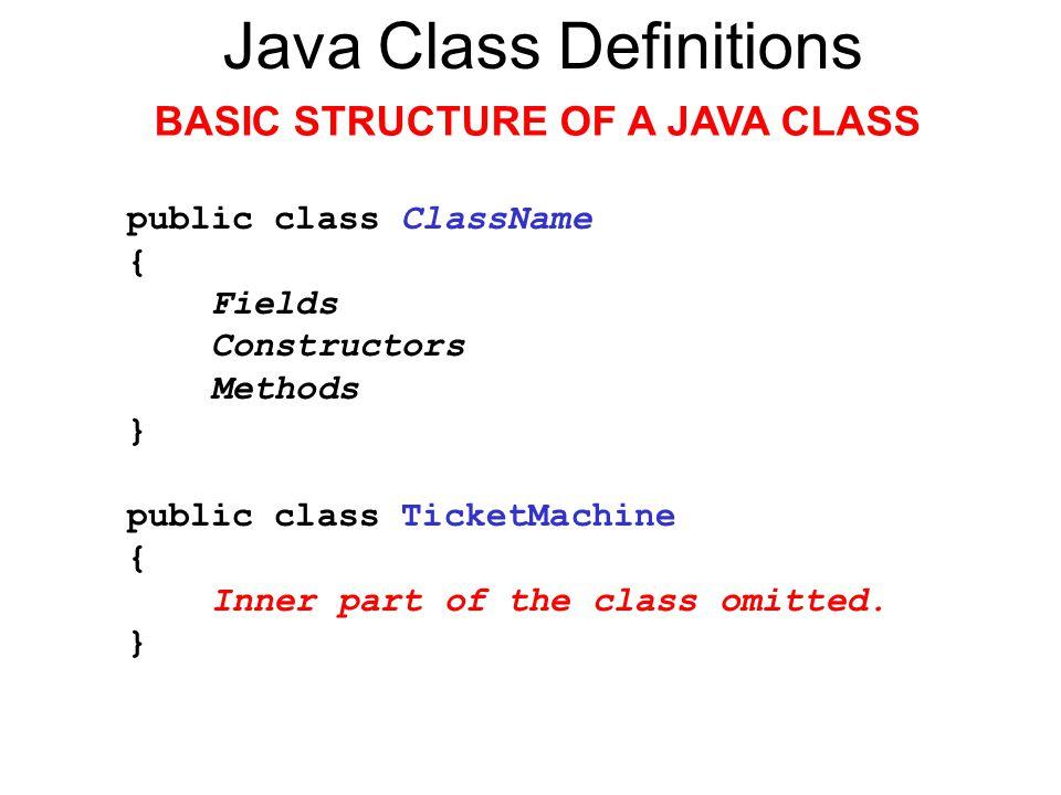 Java Class Definitions FIELDS Fields store values for an object.