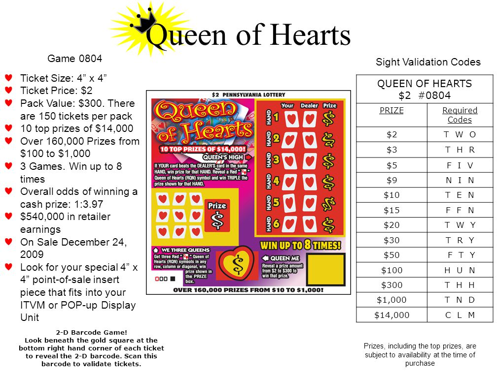 Prizes, including the top prizes, are subject to availability at the time of purchase Queen of Hearts 2-D Barcode Game.