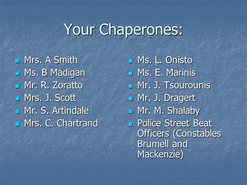 Your Chaperones: Mrs. A Smith Mrs. A Smith Ms. B Madigan Ms. B Madigan Mr. R. Zoratto Mr. R. Zoratto Mrs. J. Scott Mrs. J. Scott Mr. S. Artindale Mr.