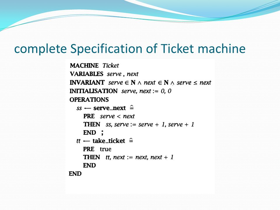 complete Specification of Ticket machine