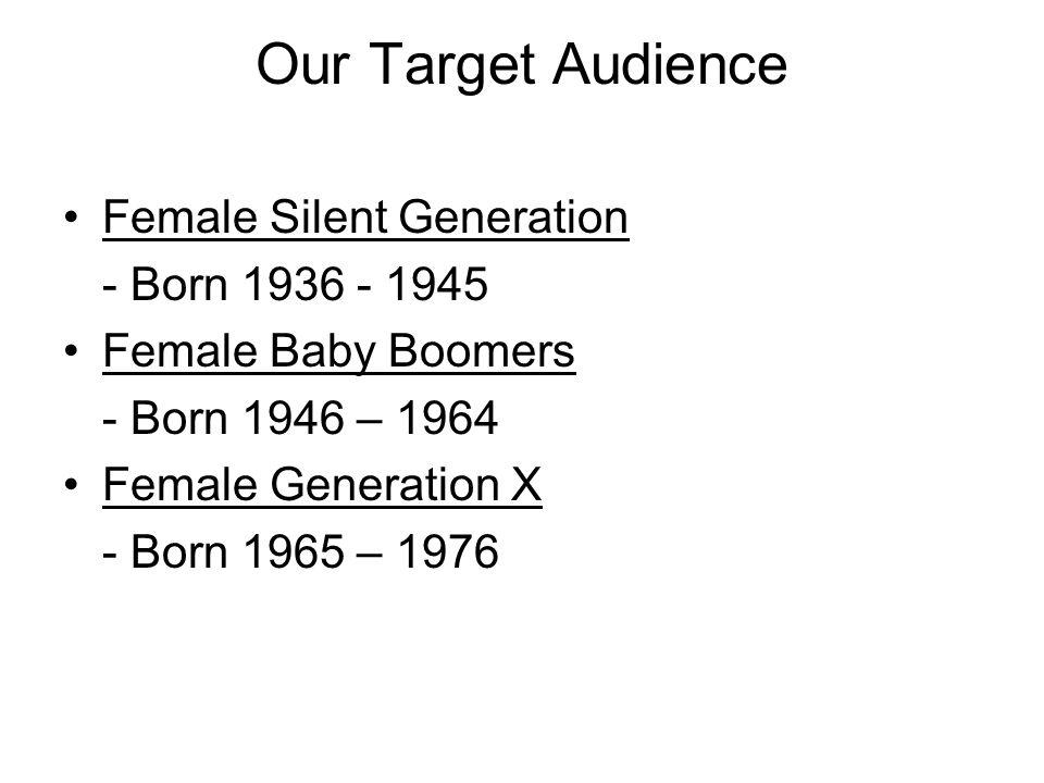 Ticket Sales Individual Ticket Sales –Prime Target Market: Baby Boomers & Silent Generation.