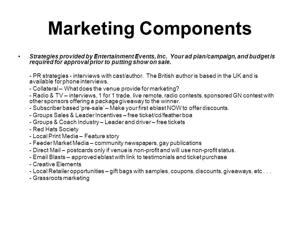 Marketing Components Strategies provided by Entertainment Events, Inc.