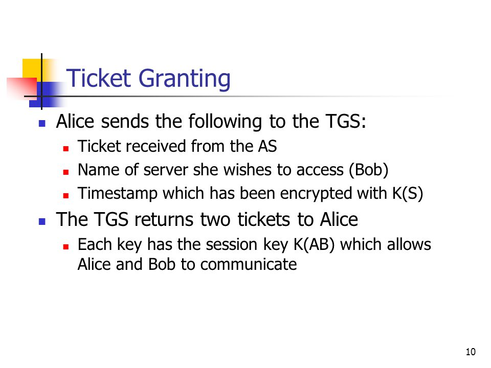 10 Ticket Granting Alice sends the following to the TGS: Ticket received from the AS Name of server she wishes to access (Bob) Timestamp which has been encrypted with K(S) The TGS returns two tickets to Alice Each key has the session key K(AB) which allows Alice and Bob to communicate
