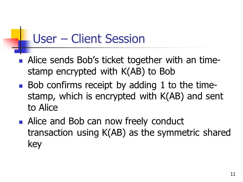11 User – Client Session Alice sends Bobs ticket together with an time- stamp encrypted with K(AB) to Bob Bob confirms receipt by adding 1 to the time- stamp, which is encrypted with K(AB) and sent to Alice Alice and Bob can now freely conduct transaction using K(AB) as the symmetric shared key