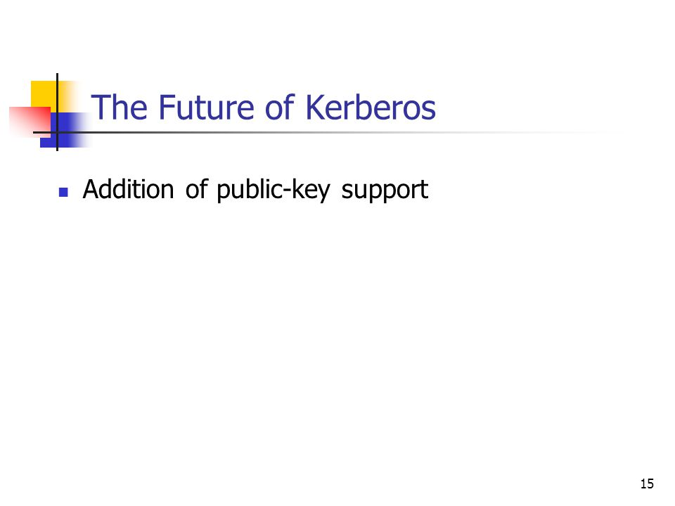 15 The Future of Kerberos Addition of public-key support