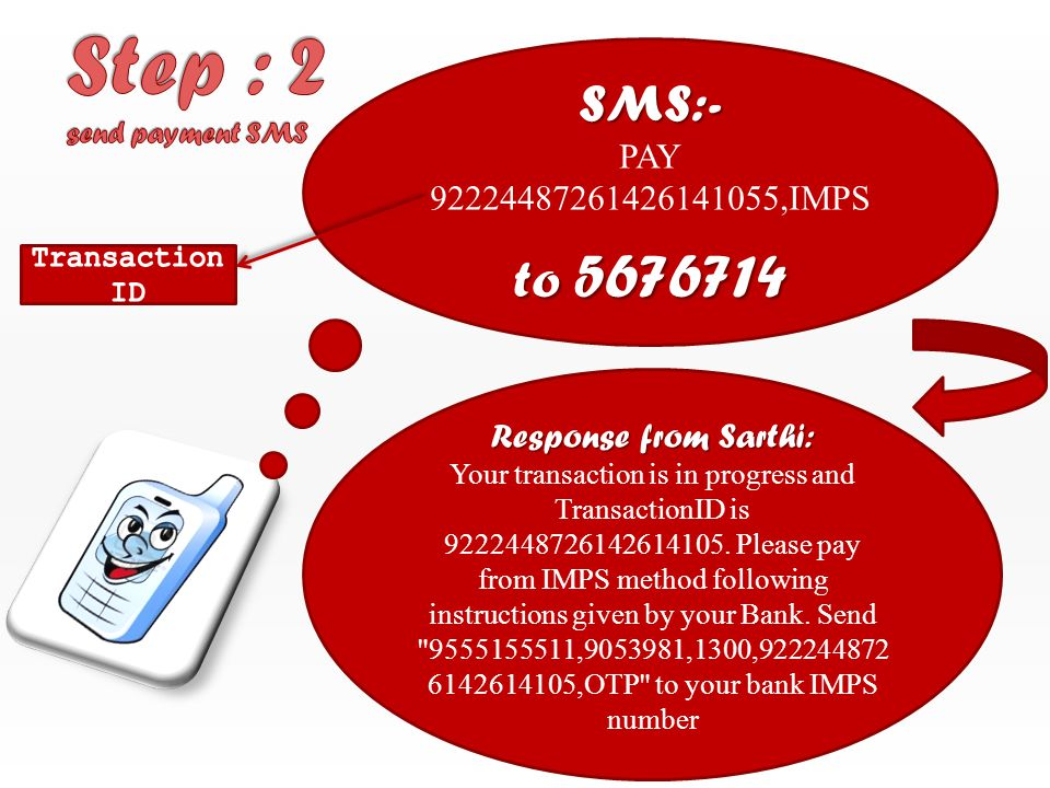 SMS:- PAY 92224487261426141055,IMPS to 5676714 Response from Sarthi: Your transaction is in progress and TransactionID is 9222448726142614105.